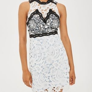 TOPSHOP Lace Mini Dress White Baby Blue